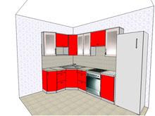 Макет красной кухни